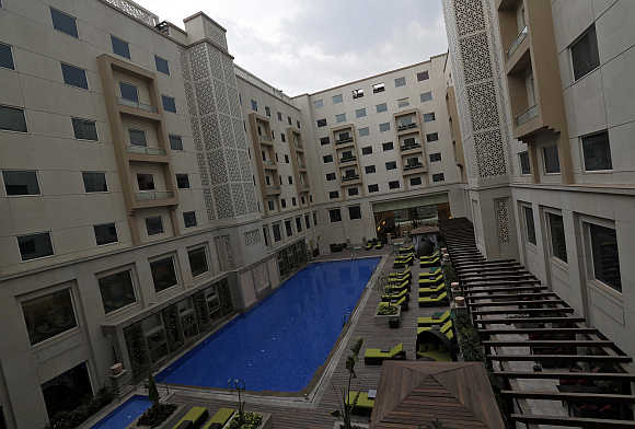 A view of the Lemon Tree Premier hotel, located outside the Indira Gandhi International Airport, in New Delhi.
