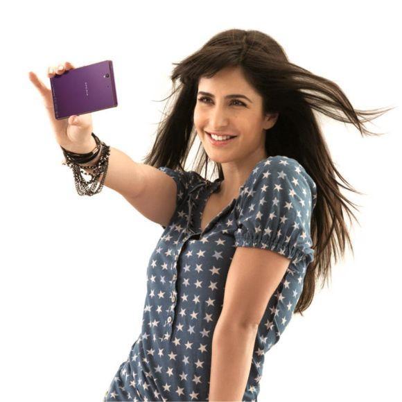 Sony Xperia smartphone brand ambassador Katrina Kaif with an Xperia smartphone.