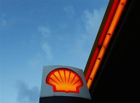 A Shell logo is seen at a petrol station.