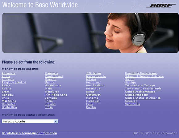 A view of Bose's website.