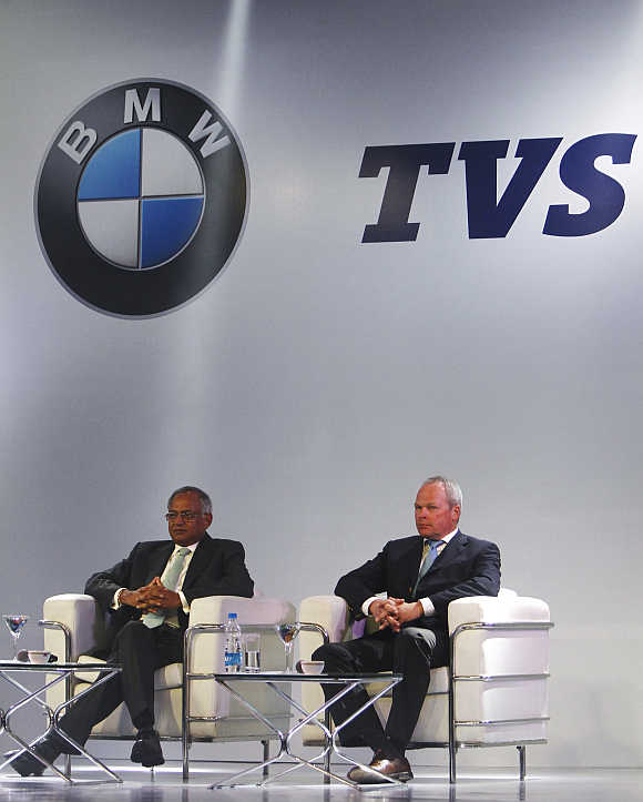 TVS Motor Chairman Venu Srinivasan, left, and BMW Motorrad President Stephan Schaller in Chennai.