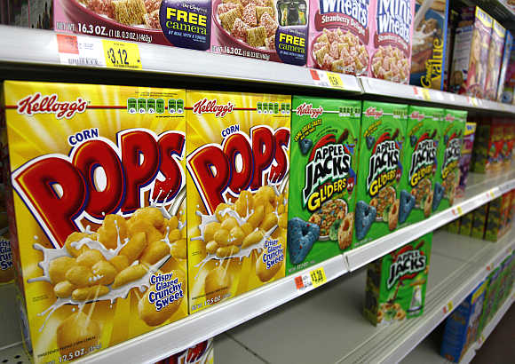 Boxes of Kellogg's cereal are displayed on a store shelf in Westminster, Colorado, United States.