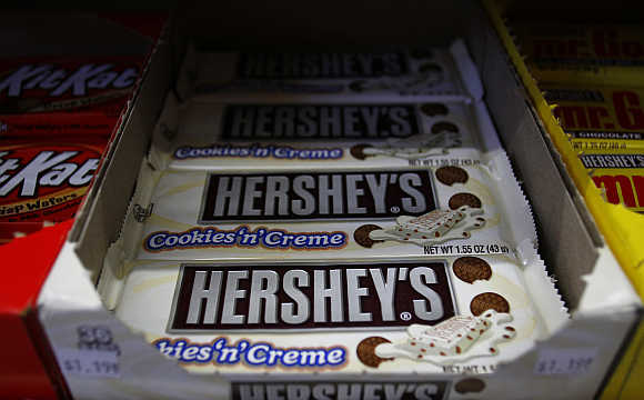 Hershey's candy bars are displayed at a gas station in Phoenix, Arizona, United States.