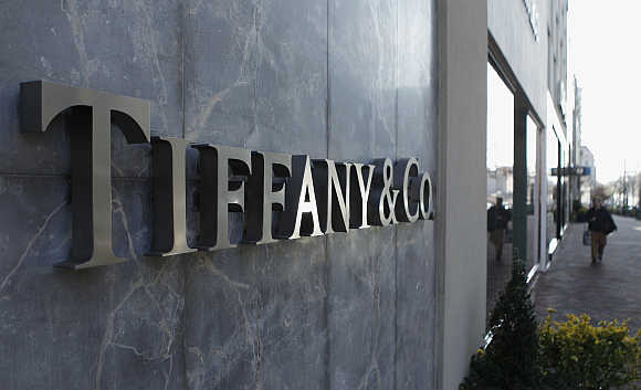A Tiffany & Co. store front sign is seen in Bethesda, Maryland, United States.