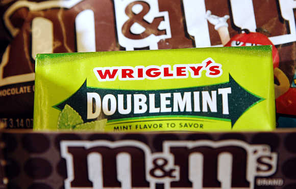 A pack of Wrigley's Doublemint gum in Medford, Massachusetts, United States.