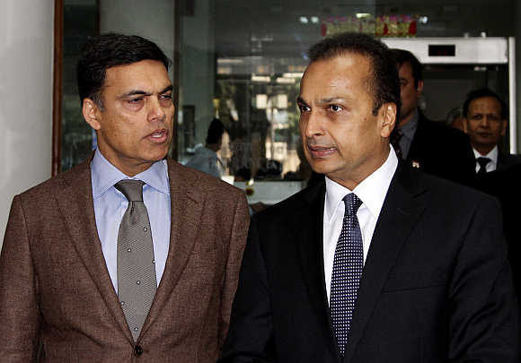 Sajjan Jindal, Chairman, Managing Director of JSW Steel, with Anil Ambani in New Delhi.