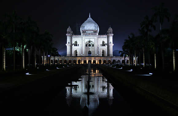 The illuminated Safdarjung Tomb in New Delhi.