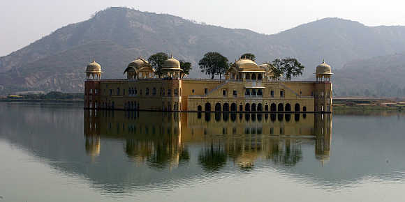 A view of the 'Jal Mahal' in Jaipur, Rajasthan.