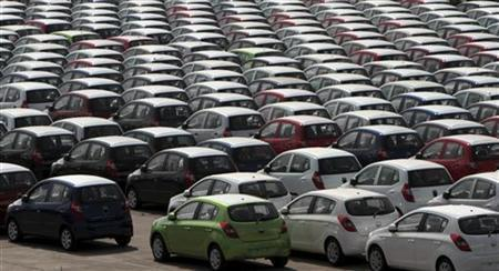 Hyundai cars ready for shipment are seen at a port in Chennai.