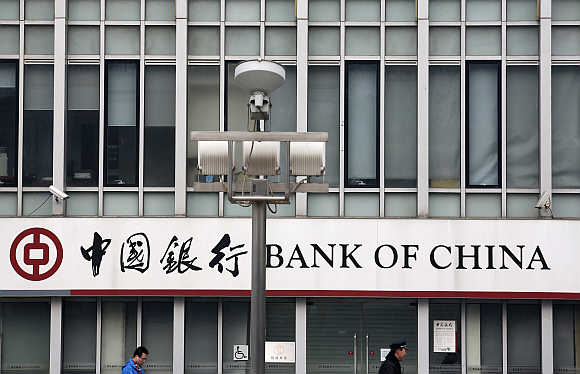 A signboard of Bank of China at its branch in Beijing.