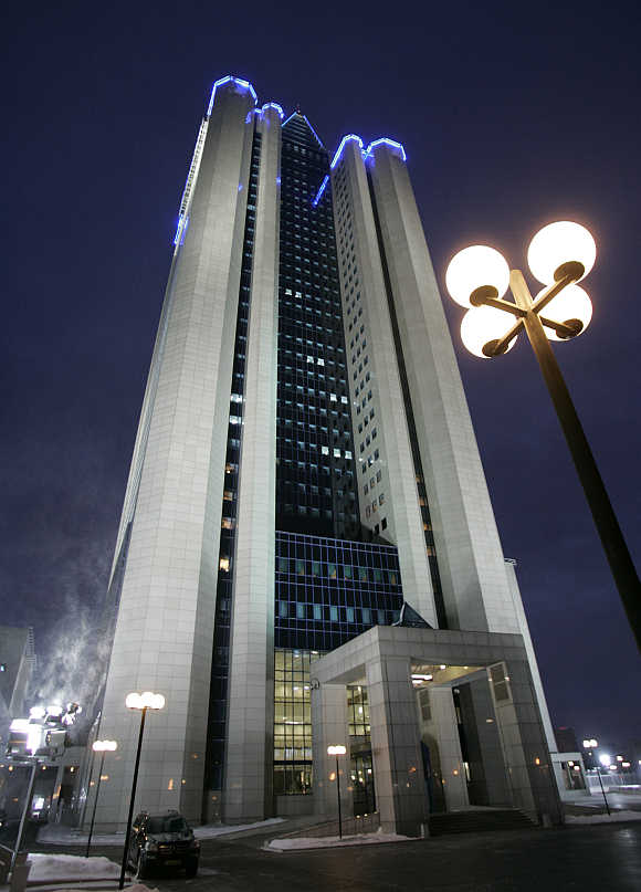 A view of Russian gas monopoly Gazprom's headquarters in Moscow.