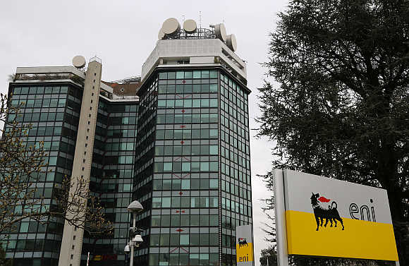 The logo of oil company Eni at its San Donato Milanese headquarters near Milan, Italy.