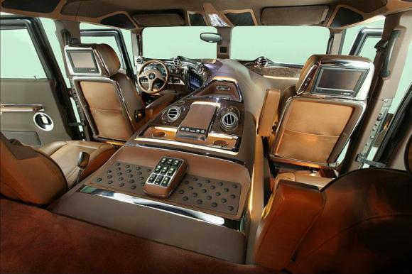 Interior of DC modified Hummer.