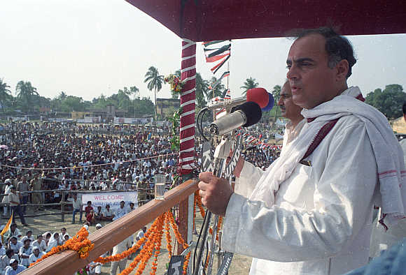Rajiv Gandhi addressing an election campaign meeting in Kishan Gunj in Bihar.