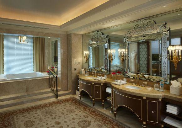 Presidential suite bathroom at The Leela Palace, New Delhi.