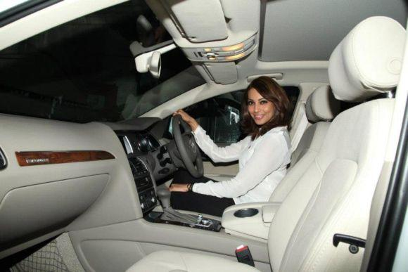 Bipasha Basu in her Audi.