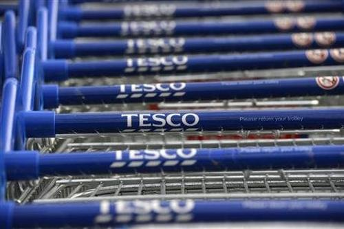 Tesco shopping carts put together for shoppers.