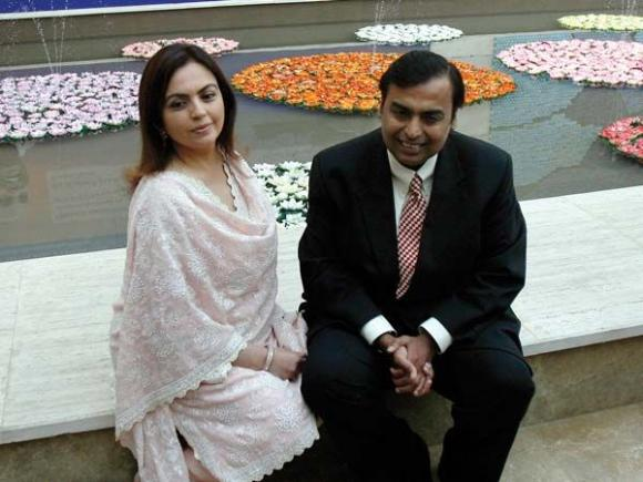 RIL chairman Mukesh Ambani with his wife Neeta Ambani.
