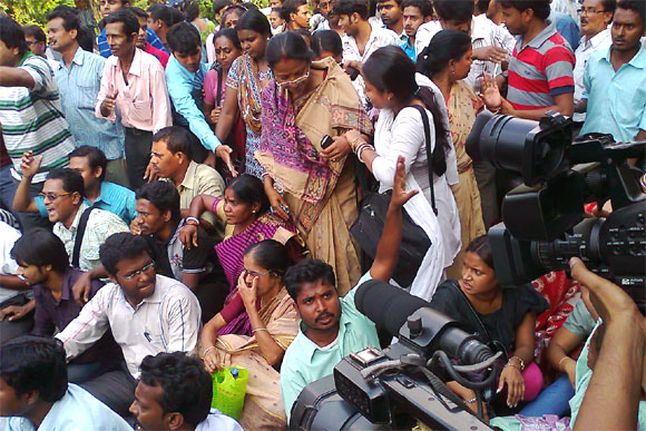 This file photograph shows Saradha agents staging dharna in Kolkata.