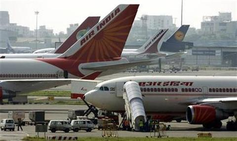 Air India aircrafts stand on the tarmac at the airport in Mumbai.