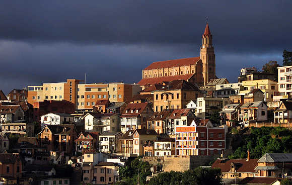 A view of Madagascar's old colonial church (at the top of the hill) in the capital Antananarivo.