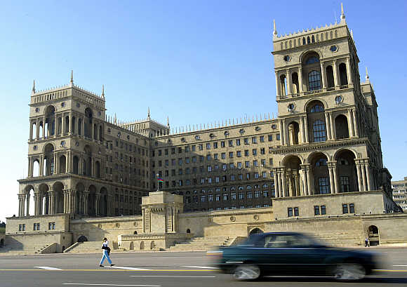 A view of the main government building in central Baku, Azerbaijan.
