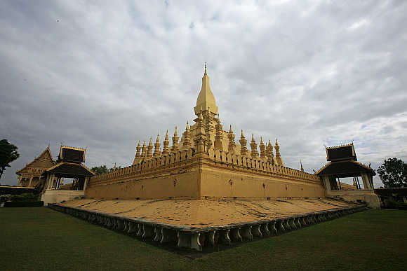 A view of Pha That Luang, the golden stupa, a national symbol of Laos, in Vientiane.