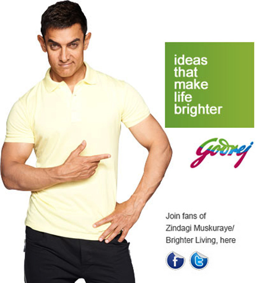 Aamir Khan endorses the Godrej brand.