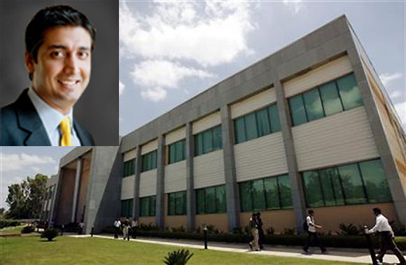 Employees walk in the Wipro campus in Bangalore. Inset: Rishad Premji.