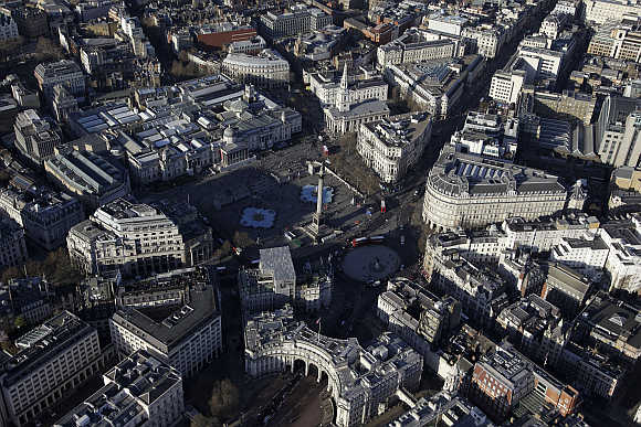An aerial view shows Trafalgar Square in London.