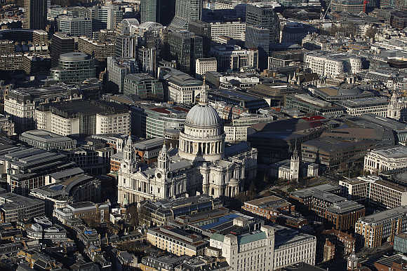 An aerial view shows St Paul's Cathedral in London.