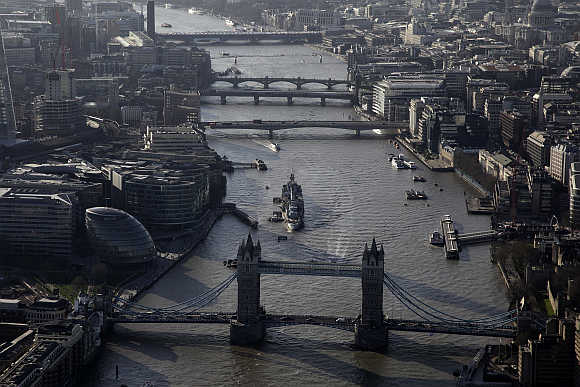 An aerial view shows Tower Bridge in London.
