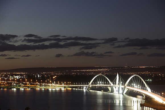 Juscelino Kubitschek bridge in Brasilia, Brazil.