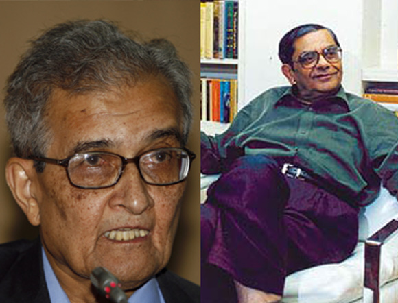 Amartya Sen, left, and Jagdish Bhagwati.