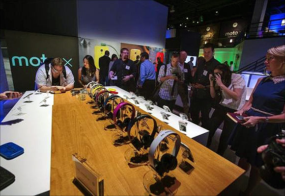 Moto X phones at a launch event in New York.