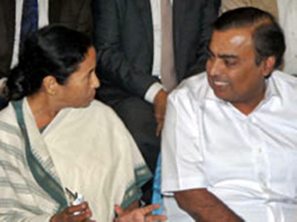 Mamata Banerjee with Mukesh Ambani.