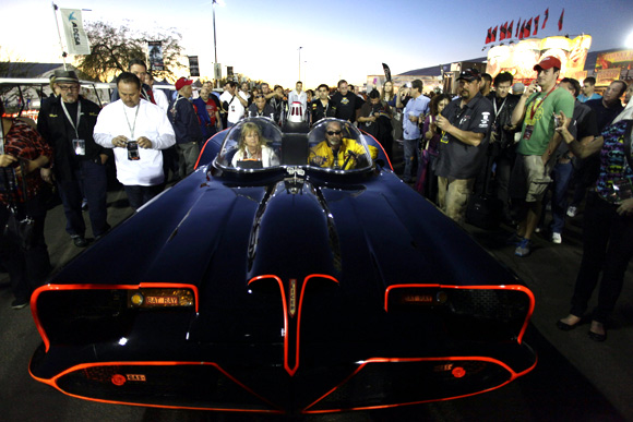People surround the original Batmobile during the Barrett-Jackson collectors car auction in Scottsdale, Arizona.