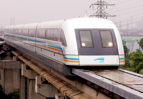 Shanghai's 1.2 billion dollar maglev train (magnetic levitation) arrives at Long Yang station after its 430kmph trip from Pudong Airport in Shanghai, China.