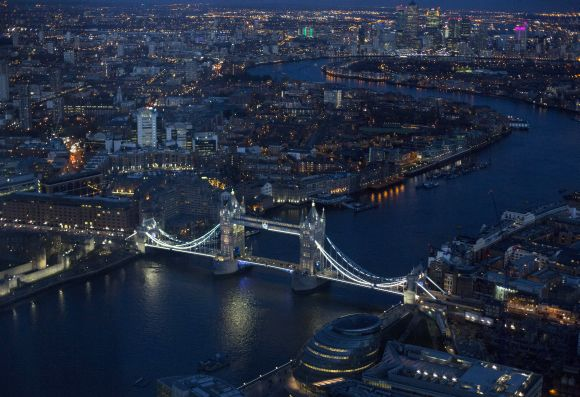 Tower Bridge is pictured from The View gallery at the Shard, western Europe's tallest building, in London.