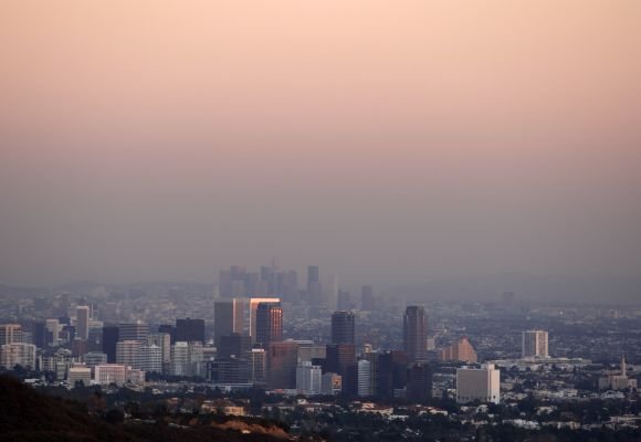 Century City and downtown Los Angeles are seen throug