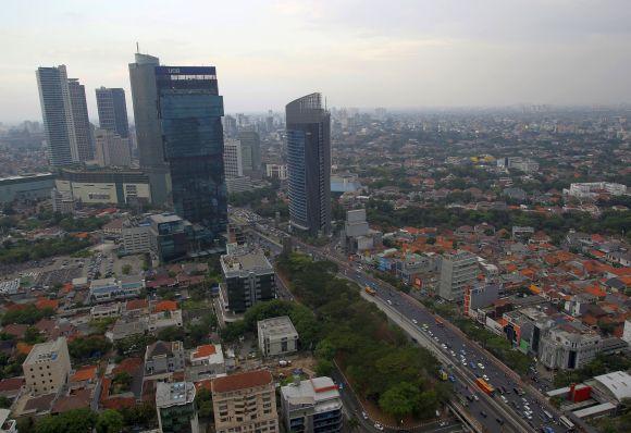 Jakarta skyline.
