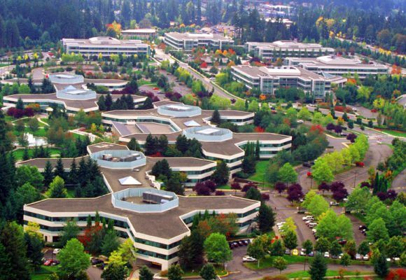 An aerial view of Microsoft's main campus in Redmond, Washington.