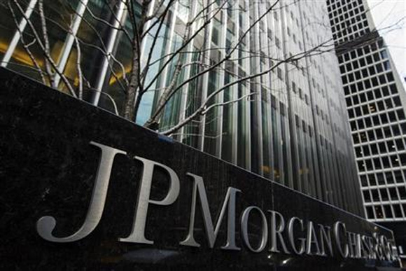 A sign stands in front of the JPMorgan Chase & Co bank headquarters building in New York.
