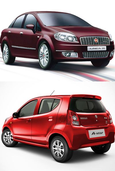 Fiat Linea (Top) and Maruti A Star.