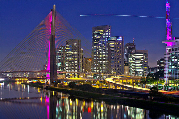 OctavioFrias Bridge in Brooklin, Sao Paulo, Brazil.