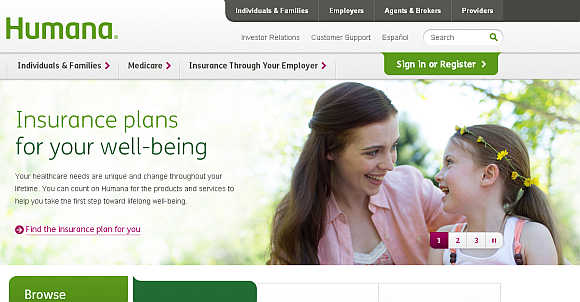 Homepage of Humana Incorporated.