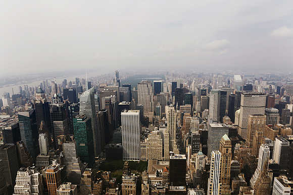 A view from the observation deck of the Empire State Building of midtown Manhattan, Rockefeller Center and Central Park in New York.