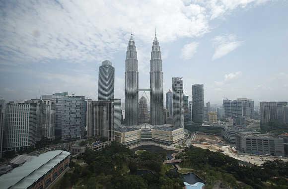A view of Malaysia's landmark Petronas Twin Towers in Kuala Lumpur.