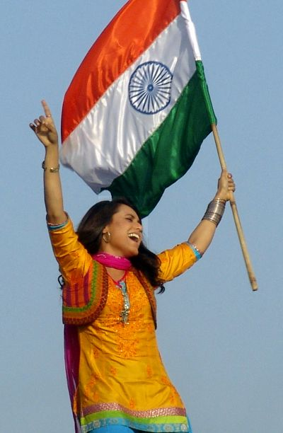 Bollywood actress Rani Mukerji with India's national flag.