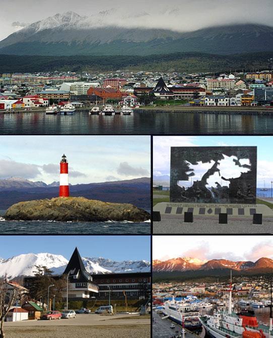 Ushuaia Railway Station (bottom left), the city's main attraction.